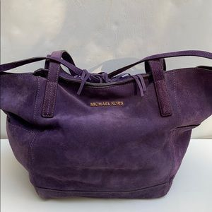 Michael Kors Boho Suede Large Slouchy Tote Purple
